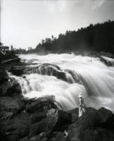 Woman posing by Old Falls, Sanford, ca. 1890