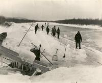 Harvesting ice, Presque Isle Stream, 1966