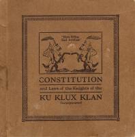 Ku Klux Klan Constitution cover, 1921