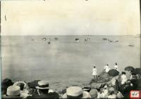Crowd and boats welcome President Taft, Biddeford, 1910