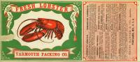 Yarmouth Packing Company lobster label, ca. 1890