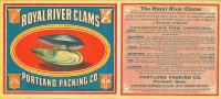 Royal River Clams label, ca. 1880