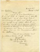 Letter from prospective patient, Maine Sanatorium, 1909