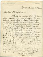 Letter concerning patient at Maine Sanatorium, 1909