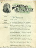 Hiram Ricker letter to Estes Nichols, 1908