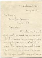 Letter seeking home TB treatment advice, 1909