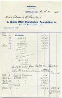 Statement of patient account, Maine Sanatorium, 1913