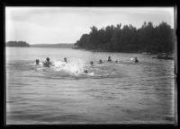 Boys swimming, North Sebago, 1921