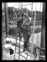 Crew in rigging of Bowdoin, Wiscasset, 1926