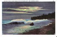 Balance Rock along Shore Path by moonlight, Bar Harbor, ca. 1930