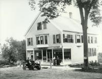 Fred H. Townsend in front of his store, Limerick, ca. 1905