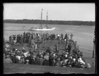 Schooner Bowdoin passing the dock, Wiscasset, 1926
