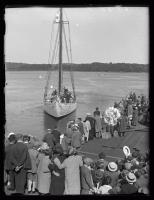 Schooner Bowdoin, backing off the pier, Wiscasset, 1926