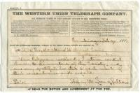 Henry Wadsworth Longfellow telegram, 1882