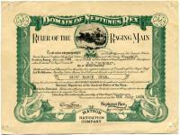 Ship certificate, 1928