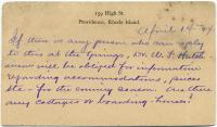 Postcard seeking accommodation information, 1884