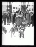 Elizabeth P. Ricker and sled dog, Poland Spring, 1927