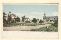 Town Hall and Catholic Church, Old Orchard, ca. 1905