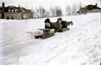 Good Will boys sledding, Fairfield, ca. 1910