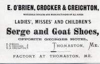 O'Brien Crocker Business Ad Card, Thomaston, ca.  1871