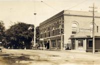 Watts Block and Trolley Waiting Station, Thomaston, ca. 1920
