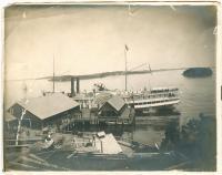 Cumberland at steamship wharf, Lubec, ca. 1895