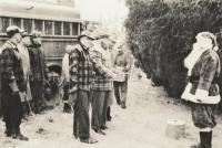 Santa and crew ready to cut tree, Presque Isle, 1953