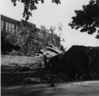 Old Orchard Beach High School after Hurricane Carol, Old Orchard Beach, 1954