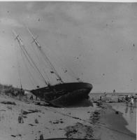 Two-Masted Ship, grounded at Camp Ellis, Saco, 1954