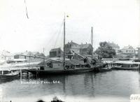 Schooner Petrel at Biddeford Pool wharf, 1911