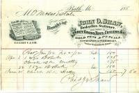 John O. Shaw bill, Bath, 1882