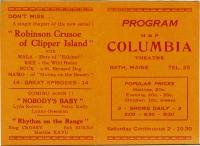 Columbia Theatre program, Bath, 1937