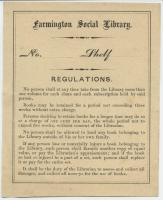 Farmington Social Library, Regulations, ca. 1900