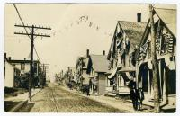 Water Street decorated for Centennial, Lubec, 1911