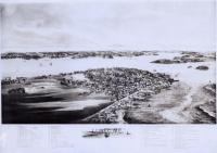 Bird's eye view of businesses and residences, Lubec, 1896
