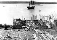 Ship Samuel Watts, Rounding the Beacon, Thomaston, Maine 1970