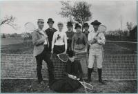 Lawn tennis players on court, Saco, 1888