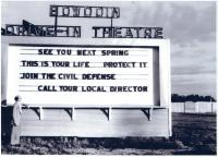 Drive-in Civil Defense sign, Brunswick, ca. 1957