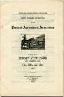 Announcement of Portland Agricultural Fair, 1910