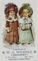 W.G. Webber Drugstore Trade card, Bath, ca. 1895