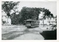 Trolley in Dock Square, Kennebunkport, ca. 1900s