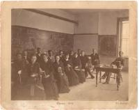 Dr. J. William Daniels and geometry class, Westbrook Seminary, 1876