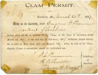 Clam Permit, town of Scarborough, 1897