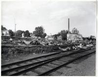Aftermath of Hardwood Products Fire, Guilford, 1958