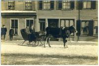 Bovine sleigh, Water Street, Hallowell, ca. 1900