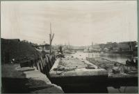 Coal barges at Bragdon's Wharf, Biddeford, ca. 1912