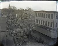 Dismantling of Old Bridge, Elm Street, Biddeford, 1921