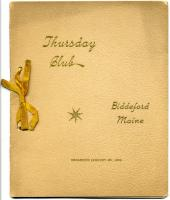 Thursday Club program, Biddeford, 1897