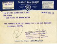 Brady Gang telegram about plane, Bangor, October 14, 1937