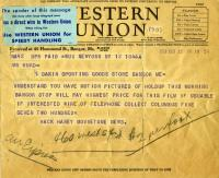 Telegram offering to pay for Brady Gang film, Bangor, 1937